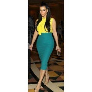 L'Wren Scott Kim K Green Midi Bodycon Pencil Skirt